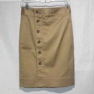 NEW J Crew Side Button Chino Pencil Skirt Sz 2